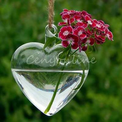 Hanging Glass Heart Plants Flower Vase Hydroponic Container Party Wedding Decor