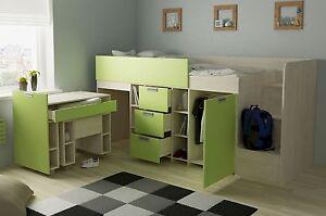 Etagenbett Grün : Hochbett berg weiß grün halbhochbett kinderbett etagenbett