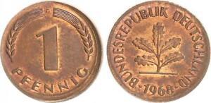 Frg 1 Pfennig 1968 G Lack Coinage:o Hne Ring Embossed, Larger Diameter Prfr