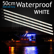 4 X White Boat LED Strip Lights 50cm Flexible Caravan Garden Camping Waterproof