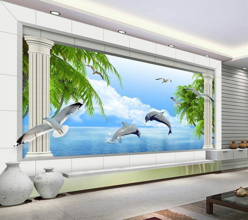 3D Stone Pillars Sea Animals 605 Wall Paper Wall Print Decal Wall AJ Wall Paper