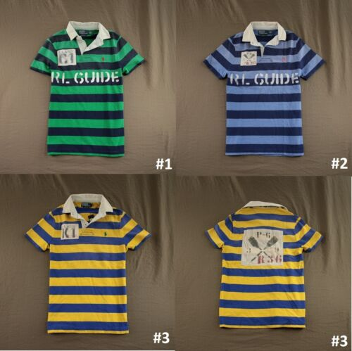 Polo Ralph Custom Fit Striped River Themed Rugby Polo Shirt Top Sporty NWT $145