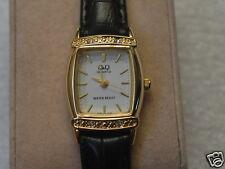 New Q&Q by Citizen Gold Tone Lady Watch w/ Diamond Bezel & White Dial