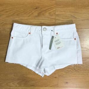 ASOS-Ladies-Mid-Rise-Denim-Shorts-Size-10-White-Cotton-Raw-Hem-Pockets-Summer