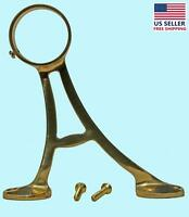 Lacquered Brass Floor Bracket Fitting 2 Bar Foot Rail | Renovator's Supply