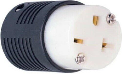 2 Pole Pass /& Seymour 20A 250V Black /& White 3 Wire Straight Blade Connector