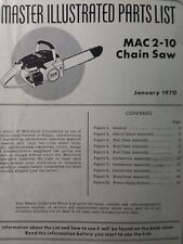 Mcculloch Chain Saw Mac 2 10 Master Parts Manual 2 Cycle Gasoline Chainsaw 1970