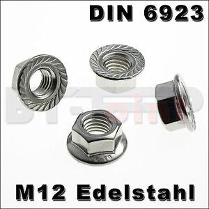 Edelstahl-Sechskantmutter-Flansch-M12-DIN-6923-A2-Mutter-DIN6923-Flanschmutter