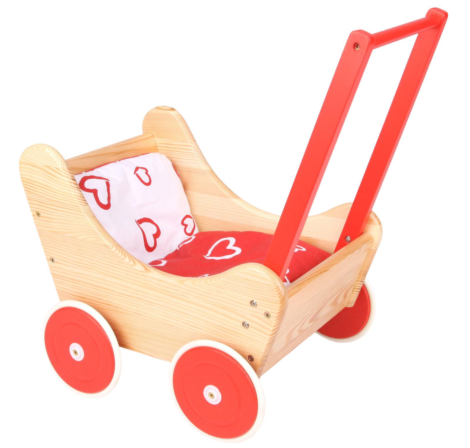 Edler Puppenwagen aus Holz rot mit Kissengarnitur 270020 NEU ovp