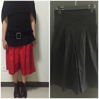 Stylish Crepe Culottes Cotton Black Wide Leg Pleated Pants Skirt