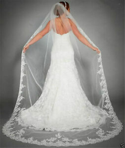 New-White-ivory-Bridal-Cathedral-Veil-Lace-Edge-Bridal-Wedding-Veil-With-Comb