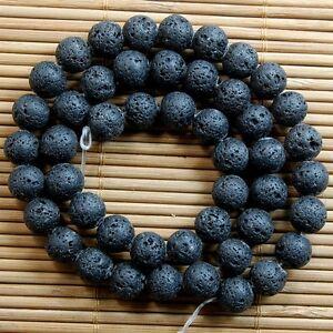 Natural-Nature-Black-Volcanic-Lava-Gemstone-Round-Beads-TY
