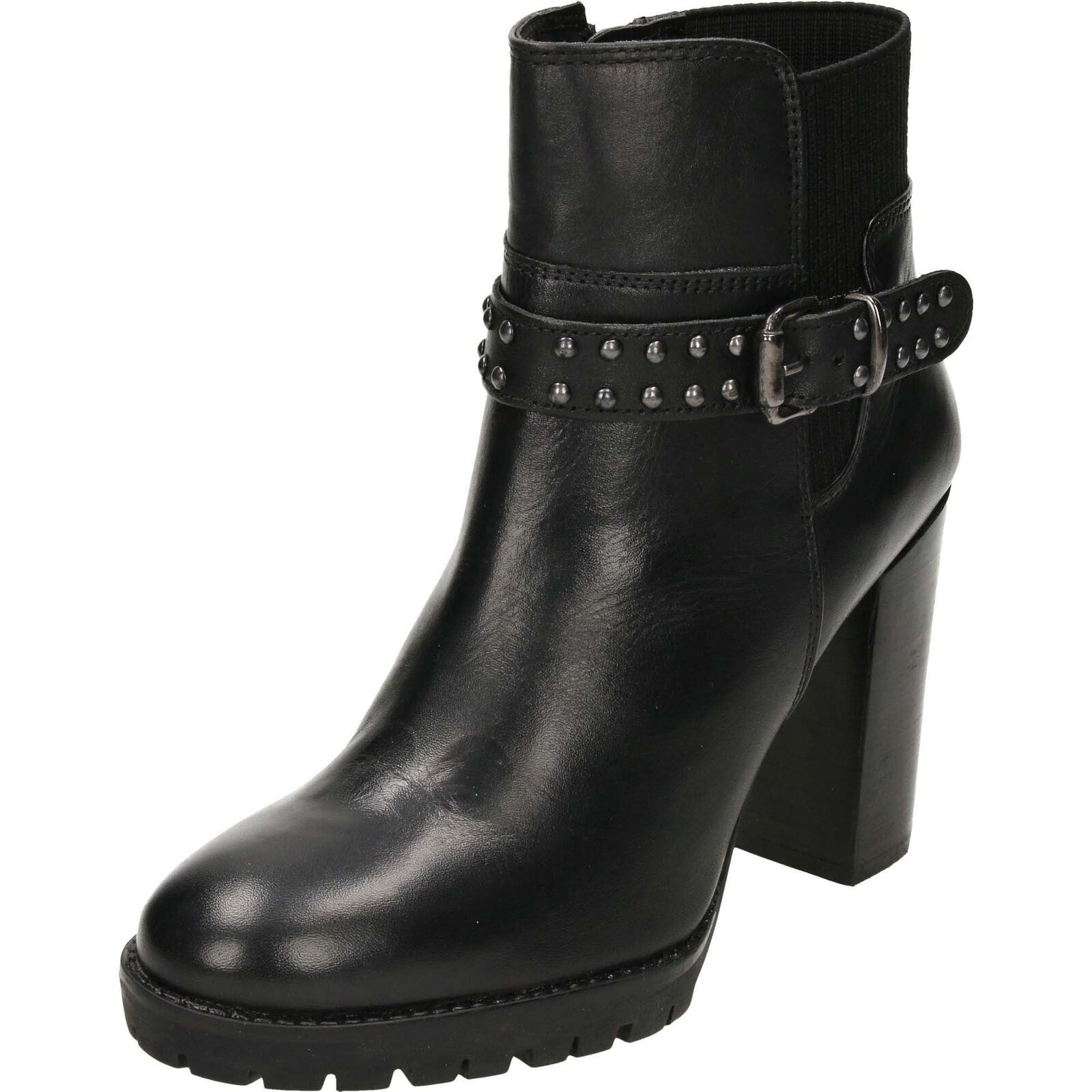 Grandes zapatos con descuento Ravel Whatley Leather Heeled Ankle Boots Black Chunky Studded Biker Gothic