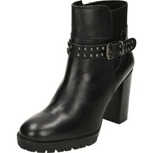 d6f6816f1c4 Details about Ravel Whatley Leather Heeled Ankle Boots Black Chunky Studded  Biker Gothic
