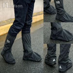 Black waterproof motorcycle rain boot covers