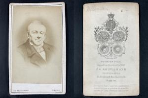 Reutlinger, Paris, Abel François Villemain, écrivain Vintage cdv albumen print.