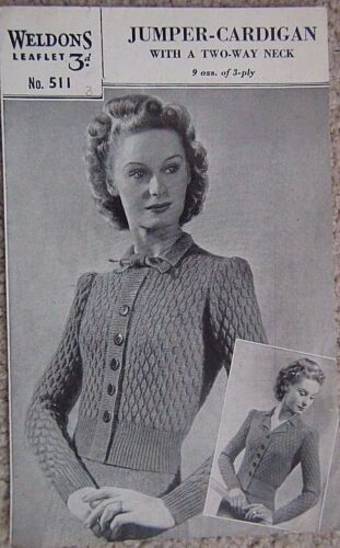"""Vintage Señoras de Lujo de la puntada 3 capas Cardigan Tejer patrón Talla 34/"""" V8"""