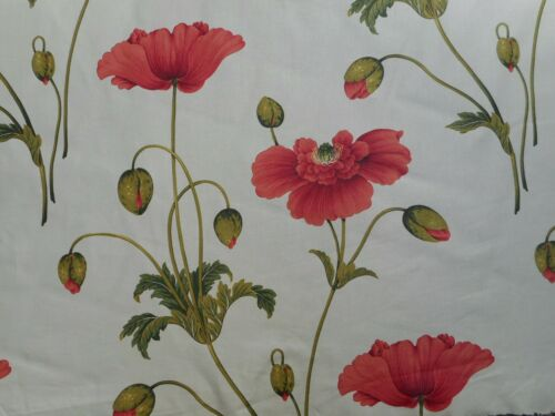 "SANDERSON CURTAIN FABRIC /""Persian Poppy/"" ROUGE//VERT 100/% coton ordre pour Yvonne"
