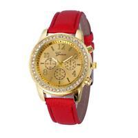 Womens Fashion Watch Geneva Crystal Round Dial Leather Analog Quartz WristWatch