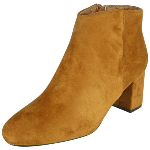 New Womens Ankle High Heel Zip Boots Ladies Faux Suede Casual Fashion Shoes Size