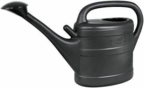 Eco-Friendly Recycled Plastics Watering Can 10 Litre - Anthracite Grey with rose