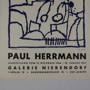 Paul-Herrmann-handsigniert-Original-Holzschnitt-1966-Ausstellungsplakat-Galerie