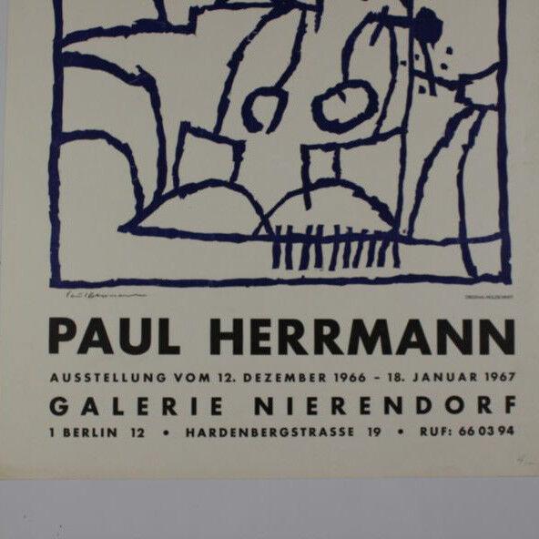 Paul Herrmann handsigniert Original Holzschnitt 1966 Ausstellungsplakat Galerie