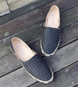 Women-Round-Toe-Pumps-Woven-Loafers-Espadrille-Casual-Slip-On-Flats-Solid-Shoes