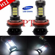 H11 Samsung LED 57 SMD Super White 6000K Headlight Xenon 2x Light Bulbs Low Beam