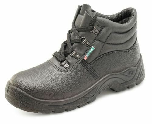 CHUKKA SAFETY WORK BOOT LEATHER STEEL TOE CAP CLICK BLACK MENS//LADIES SIZES 3-13