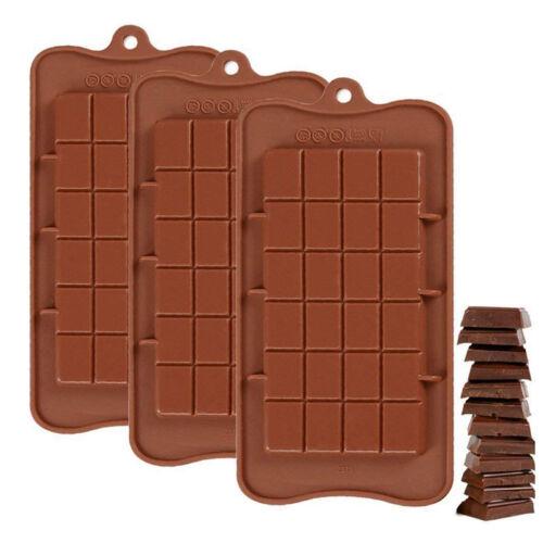 2PCS 24 Grid Silicone Chocolate Mold Bar Block Ice Cake Candy Sugar Bake Mould