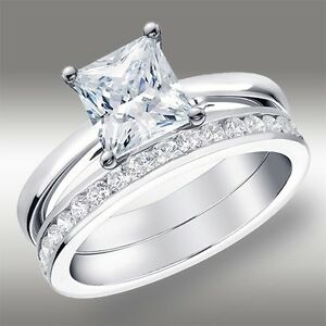 2-02-CT-Princess-Cut-Engagement-Ring-amp-Wedding-Band-Lab-Diamond-14K-White-Gold
