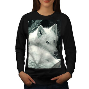 Wellcoda-WHITE-WOLF-Look-Da-Donna-Felpa-pericolo-cane-Casual-Pullover-Maglione