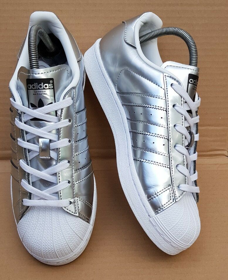 WORN ONCE GORGEOUS ADIDAS SUPERSTAR WHITE & ICE SILVER TRAINERS SIZE SIZE TRAINERS 7 UK RARE f09f88