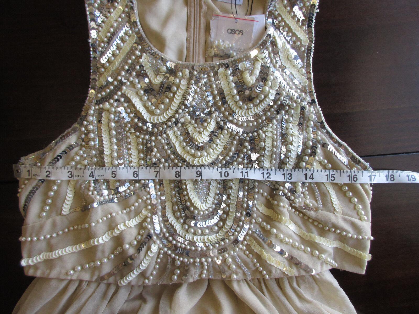 NEW ASOS Maternity Cream  Embellished Top Midi Evening Dress  sz 6 US