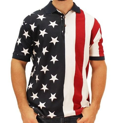 White /& Blue Mens Patriotic Polo American Flag Shirt in Classic USA Colors Red