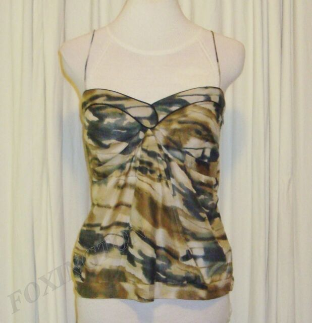 BEAUTIFUL SASS&BIDE CAMOUFLAGE PRINT SILK BLEND CAMI TOP 42/6 (AUS 12)