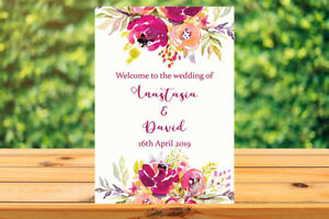 image relating to Printable Welcome Sign named Info concerning Printable Personalized Personalized Marriage WELCOME Signal rustic floral purple