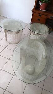 3 Piece Marble Coffee Table End Tables Glass Top Living Room Set Ebay