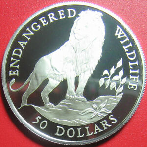 1991-COOK-ISLANDS-50-SILVER-PROOF-SENEGALESE-LION-ENDANGERED-WILDLIFE-RARE-COIN