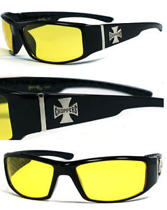 New-Choppers-Cross-Logo-Sports-Bikers-Wrap-Around-Mens-Sunglasses-Yellow-C38