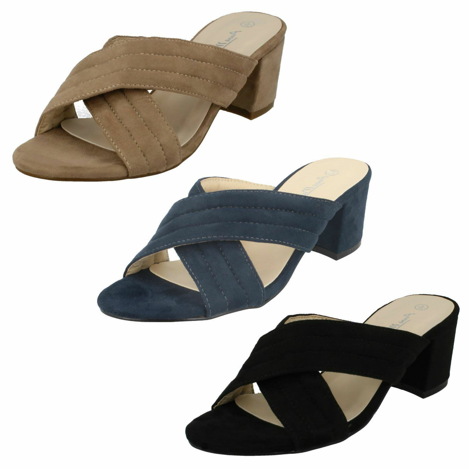 Anne On Michelle F10728 Ladies Microfibre Slip On Anne Block Heeled Mule Sandals 027d0c