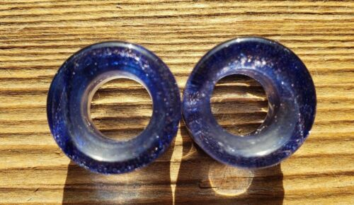 PAIR OF BLUE SAND GLASS TUNNEL PLUGS GAUGES BODY JEWELRY DOUBLE FLARED
