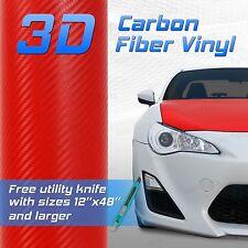 "Red 3D Premium Grade Carbon Fiber Vinyl Sheet Film 24""x48"" 2x4 ft BMW"