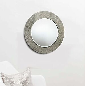 Round-Crackle-Mirror-Mosaic-Silver-Frame-40-x-40cm-Bedroom-Bathroom-Hall-Home