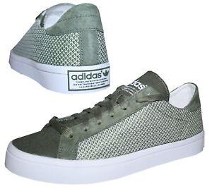 Adidas-Court-Vantage-Herren-Sneaker-Schuhe-Freizeit-oliv-Canvas-Mesh-46-2-3