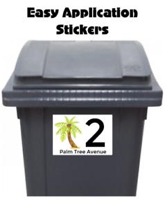 8 Small Custom Wheelie Bin Stickers Street Address Number Waterproof Palm Tree 7