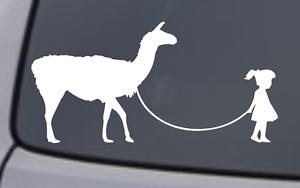 GIRL WALKING A LLAMA Vinyl Decal Sticker Car Window Wall Bumper Funny Pet Animal