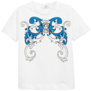 e673e441 NWT NEW Young Versace boys white T-Shirt blue scroll print Medusa ...
