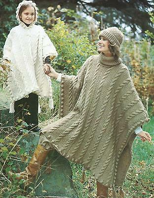 Ladies Girls Knitting Pattern Poncho Hat Chunky Knit  Retro 274
